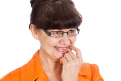 Mature age good looking  woman  portrait with glasses Royalty Free Stock Photos