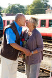 Mature aged couple at trainstation Royalty Free Stock Photos