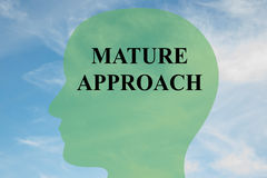 Mature Approach concept. Render illustration of MATURE APPROACH script on head silhouette, with cloudy sky as a background Royalty Free Stock Images
