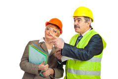 Mature architects pointing  away Stock Image