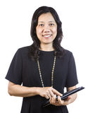 Mature Asian Woman in Business attire with open folder on White Royalty Free Stock Images