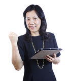 Mature Asian Woman in Business attire showing emotion Stock Photos