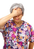 Mature asian woman feel headache Royalty Free Stock Photo