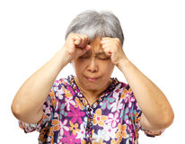 Mature asian woman serious headache Stock Photography