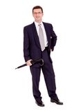 Mature attractive business man with umbrella isolated Stock Photo