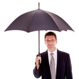 Mature attractive business man with umbrella isolated Royalty Free Stock Photo