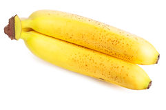 Mature Bananas. Bunch of yellow mature bananas on a white background Stock Photography
