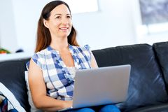 Free Mature Beautiful Woman Working On Her Laptop Stock Photography - 112322962