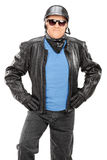 Mature biker with leather jacket Royalty Free Stock Photo