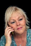 Mature Blonde Woman with Cell Phone (1) Royalty Free Stock Photography