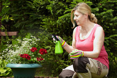 Mature blonde woman works in her garden Royalty Free Stock Photos