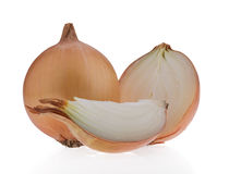 Mature brown onion and sliced ​​onion, isolated on white bac Stock Photo