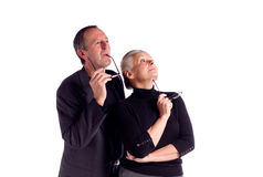 Mature business couple. Portrait of mature business couple dressed casually,isolated on white Stock Photography