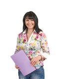 Mature business lady with a folder Stock Photo