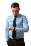 Mature Business man cheking time Stock Photo