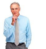 Mature business man day dreaming on white Royalty Free Stock Photo