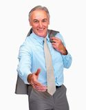 Mature business man with his hand stretched Stock Photo