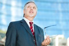 Mature business man holding his glasses Stock Photography