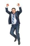 Mature business man jumping Royalty Free Stock Photos