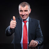 Mature business man making the ok sign Royalty Free Stock Photo