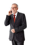 Mature business man with a pair of glasses, phoning Stock Image