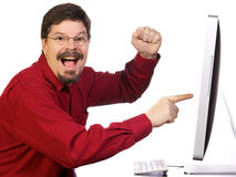 Mature Business Man Pointing at Computer Stock Photography