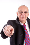 Mature business man pointing forward Royalty Free Stock Photo