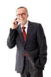 Mature business man with smartphone, isolated Stock Photo