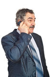 Mature business man talking by phone mobile Stock Photos