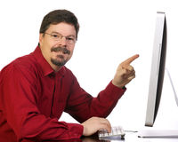 Mature Business Man Working on the Computer Stock Photography