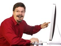 Mature Business Man Working on the Computer Stock Photo