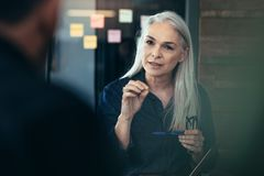 Free Mature Business Woman Advising Her Colleagues In Meeting Stock Photography - 130786902