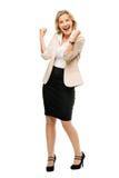 Mature business woman celebrating success full length isolated o. Mature business woman celebrating success full length stock photography