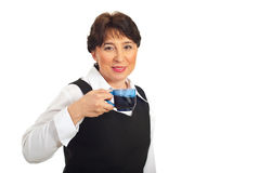 Mature business woman drinking coffee Royalty Free Stock Photography