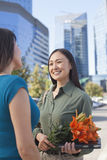 Mature Business Woman With Flowers Royalty Free Stock Photos