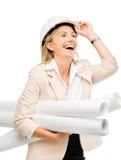 Mature business woman holding blue pints plans isolated on white. Happy mature business woman holding blue prints plans Royalty Free Stock Image