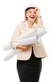 Mature business woman holding blue pints plans isolated on white. Happy mature business woman holding blue prints plans Stock Image