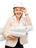 Mature business woman holding blue pints plans isolated on white. Mature business woman holding blue prints Stock Photo