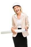 Mature business woman holding blue pints plans isolated on white. Mature business woman holding blue prints Stock Photos