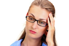 Mature business woman holding head in hands Stock Image