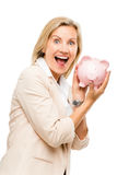 Mature business woman holding piggy bank isolated on white backg Stock Image