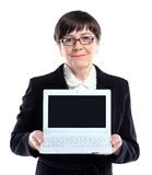 Mature business woman with laptop Royalty Free Stock Photos