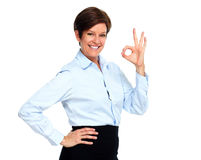 Mature business woman with short hairstyle. Royalty Free Stock Photos