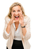 Mature business woman shouting isolated on white background Stock Photos