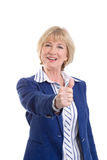 Mature business woman showing thumbs-up Royalty Free Stock Photography