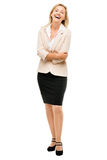 Mature business woman smiling full length portrait isolated on w Royalty Free Stock Photos