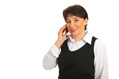Mature business woman speak to cellphone Stock Photos