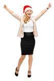Mature business woman wearing santa hat christmas smiling isolat Stock Image