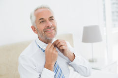 Mature businessman adjusting neck tie at home Stock Photo