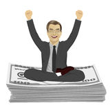 Mature businessman with arms up celebrating his success sitting on dollar bills stack Royalty Free Stock Photo